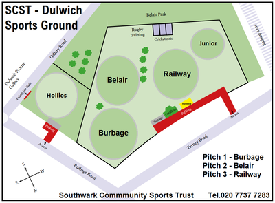 Cricket Pitch Layouts at Dulwich Sports Ground London