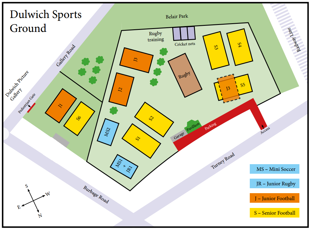 Dulwich SPorts Ground Pitch Layout